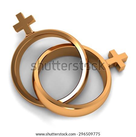 Two Gold Rings Form Gender Symbols Stock Illustration 296509775