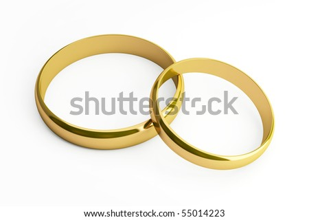 Two gold rings lie on a white background