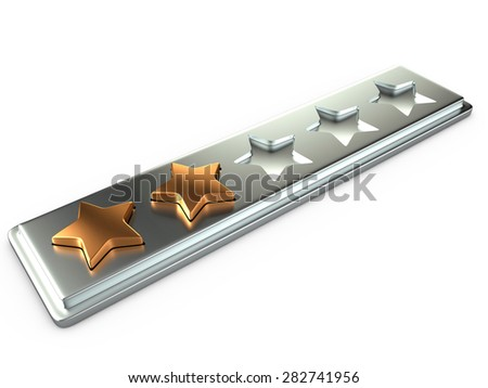 Two gold stars for ranking, 3D - stock photo