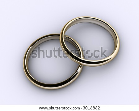 Two gold wedding rings over white background - 3d render