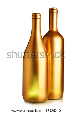 Two gold wine bottles isolated over white background - stock photo