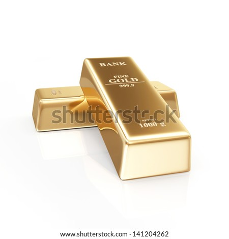 Two Golden Bars on white background