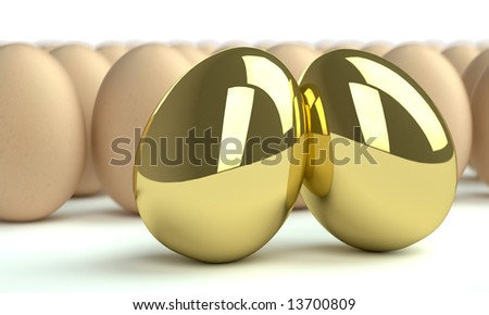 two golden eggs and group of eggs on white - stock photo