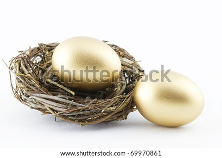 Two golden eggs with a twig nest  depict financial hopes and results; white background; - stock photo