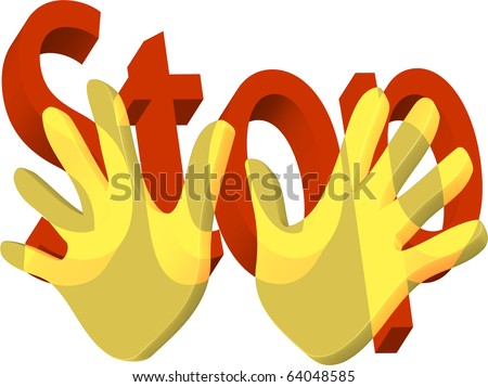 Two golden hands held up to stop with stop in words illustration