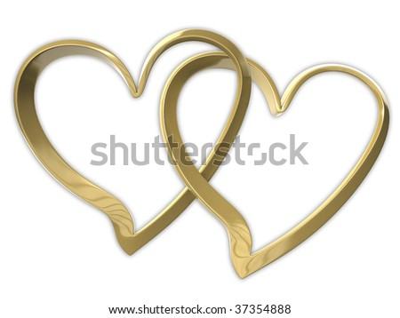 two golden hearts - stock photo
