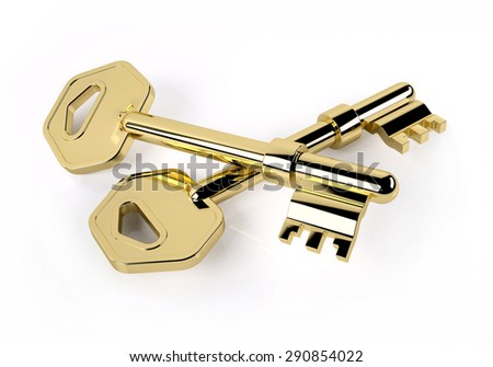 two golden key crossed isolated on white, 3d illustration - stock photo