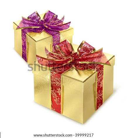 Two golden present surprise boxes with red and lilac wrap and bow
