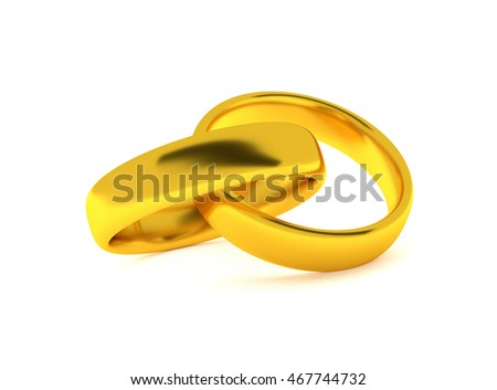 Two golden rings on a white background , wedding concept 3d rendering