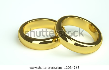 two golden wedding rings - stock photo