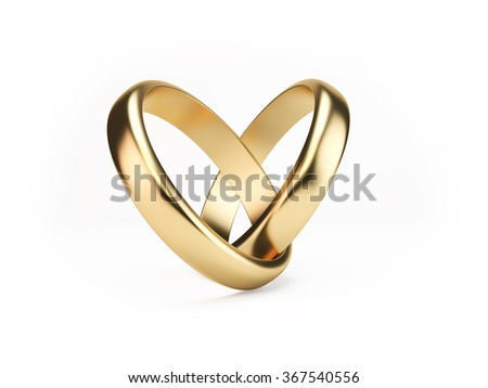 Two golden wedding rings on isolated white background symbolizing marriage; love; relationships; proposals; valentine's day; engagement etc... - stock photo