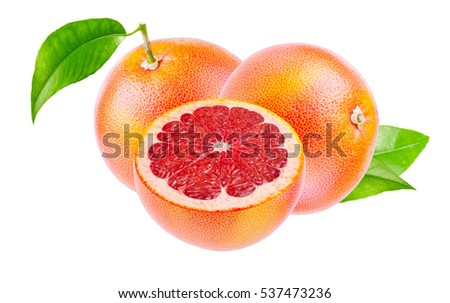 Two grapefruits and slices isolated on white background