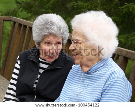 Two gray-haired women. - stock photo