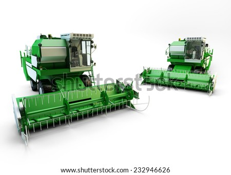 Two Green agricultural combine-harvesters isolated on white - stock photo