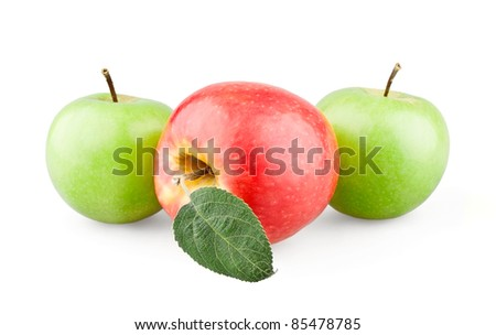 Two green and red apples with a leaf on white background