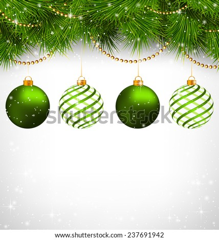 Two green and two spiral Christmas balls on green pine branches with chains on snowfall on grayscale background - stock photo
