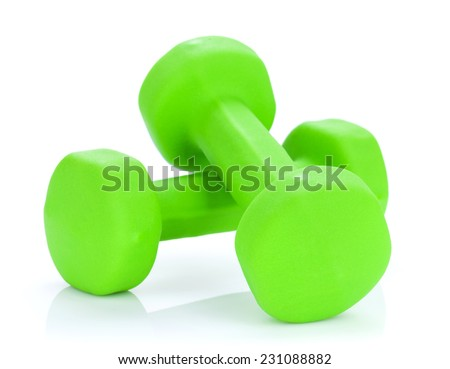Two green dumbells. Isolated on white background - stock photo