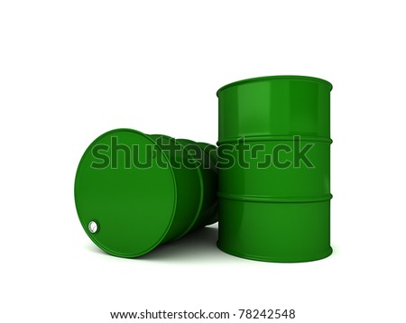 Two green oil barrels 3D render isolated over white