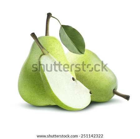 Two green pears and quarter composition isolated on white background as package design element - stock photo