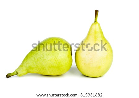 Two green pears isolated on white background - stock photo