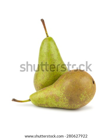 Two green ripe pears isolated on white background - stock photo