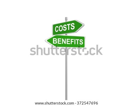 Two green road signs , costs vs. benefits, 3d illustration