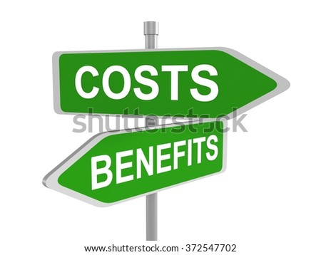 Two green road signs , costs vs. benefits, 3d illustration - stock photo