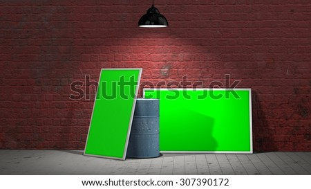 two green screen  frames and a barrel in front of a old stone wall illuminated with spotlight - stock photo