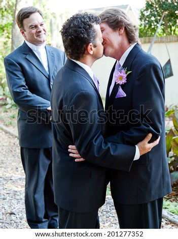 kissing gay wedding gay kiss gay marriage two gay grooms