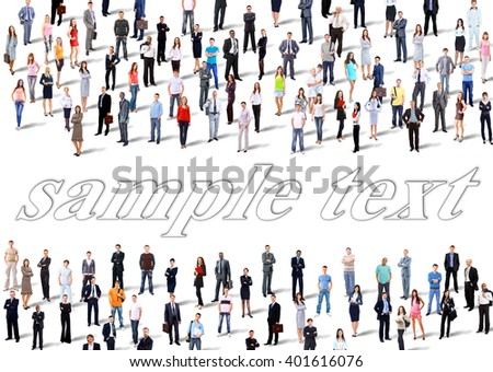 Two groups of business people. Isolated over white background