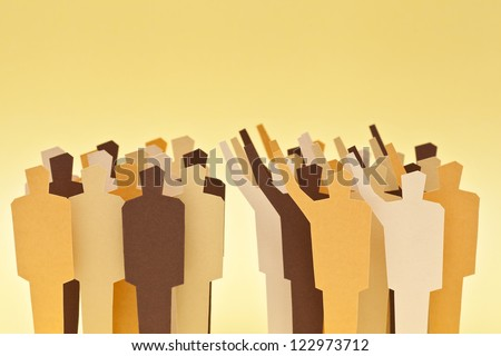 Two groups of the same society on disagreement. Concept of divided society - stock photo