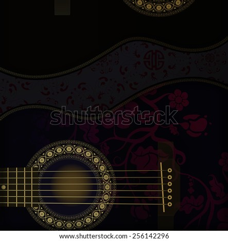 Two guitars with floral ornament - stock photo