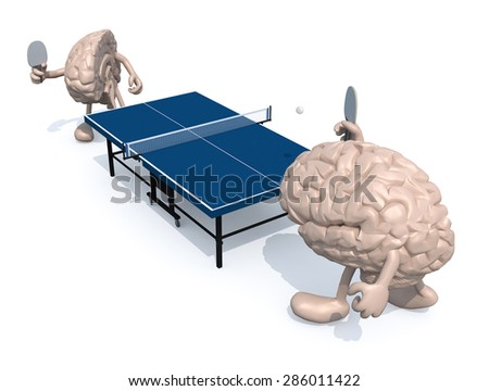 two half brains with arms and legs that playing to table tennis, 3d illustration - stock photo