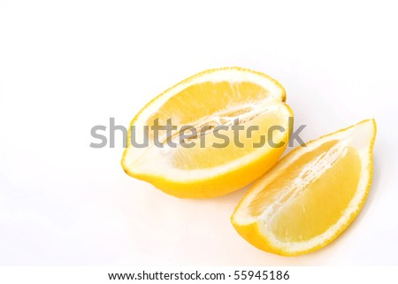 Two half lemon isolated on white background - stock photo