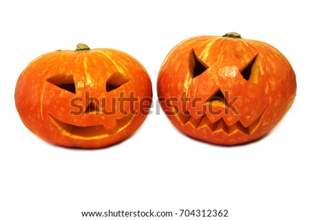Two halloween pumpkins (Jack-o'-lantern) isolated on white background