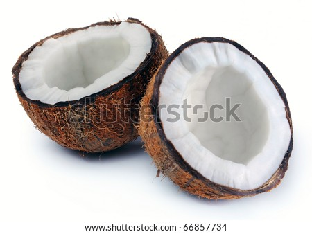 two halves of a coconut on white background