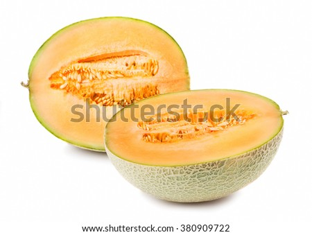 Two halves of cantaloupe on white background - stock photo