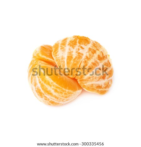 Two halves of fresh juicy peeled cleaned tangerine ripe fruit isolated over the white background - stock photo