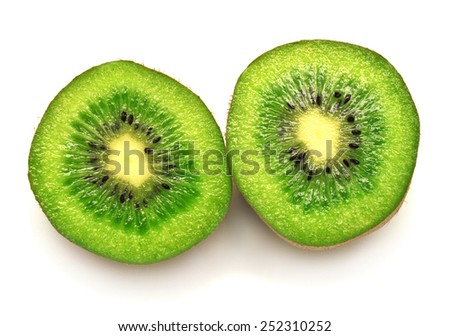Two halves of kiwi isolated on white background - stock photo