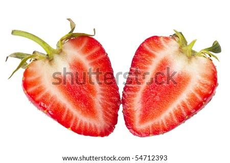 Two halves of sliced strawberry macro shot isolated over white background - stock photo