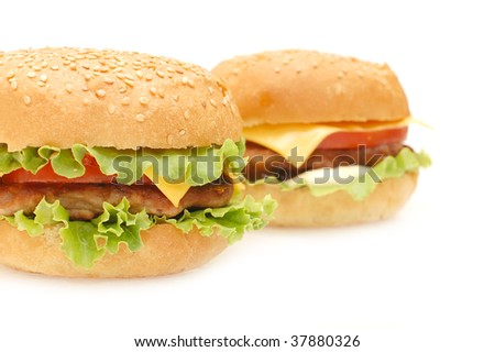 Two hamburgers  isolated on white background