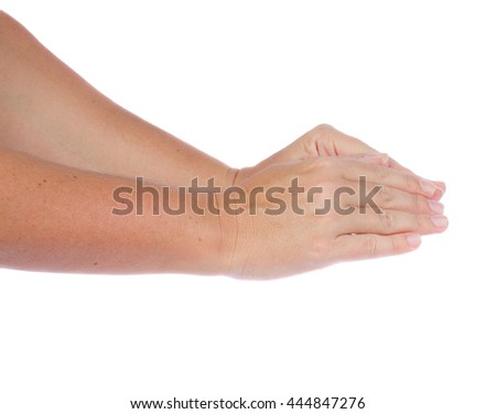 Two hand gesture covering something on isolated on white background - stock photo