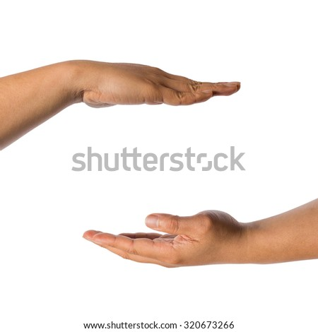 two hand holding invisible product isolated on white background