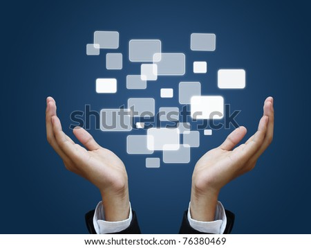 Two hand holding touch screen - stock photo