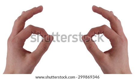 Two hand showing OK on the white background - stock photo