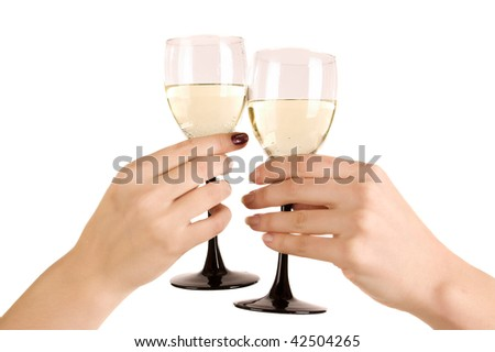 two hand with wine glasses on white isolated - stock photo