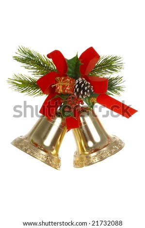 Two handbells, red tape, branches of a fur-tree on a white background - stock photo