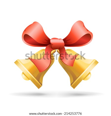 Two handbells tied a red ribbon on the white background - stock photo