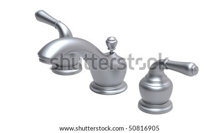 two handles centerset faucet - stock photo