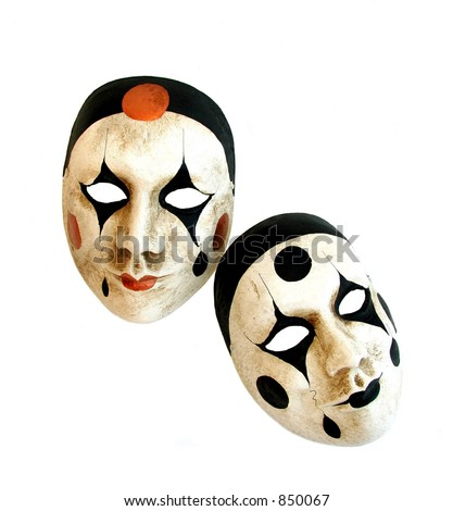 Two handmade carnival masks from Venice on a white background. - stock photo